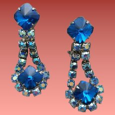 1960s Clip Earrings / Blue Emerald Cut Rivoli Rhinestones