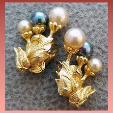 Clip on CastleCliff Earrings Faux Pearls 1960s