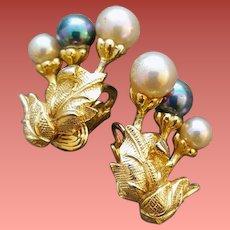 Clip on CastleCliff Earrings Faux Pearls 1960s