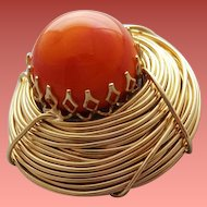 Unusual Vintage Brooch Orange Egg in Golden Nest