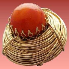 Unusual Vintage Brooch Orange Egg in Golden Nest