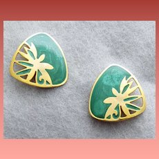 Teal and Gold Tone Berebi Pierced Earrings Spring Summer