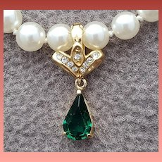 Faux Pearl Necklace Detachable Rhinestone Enhancer