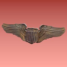 Metal Army Air Force Pilot Brooch Wings with Shield