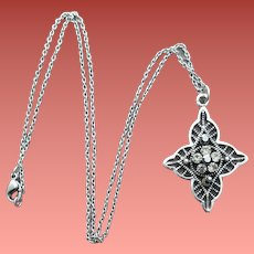 Sterling Silver Necklace with Rhinestones and Marcasites