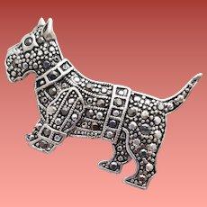 Scottish Terrier Brooch Wearing a Marcasite Coat