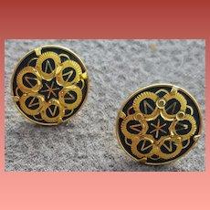 Vintage Japanese Damascene Pierced Earrings Button Size