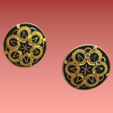 Vintage Japanese Damascene Pierced Earrings Button Size