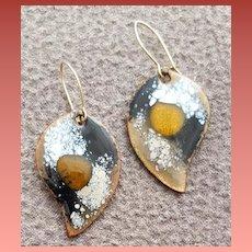 Pierced Earrings Earthy Enamel on Copper Tear Drops