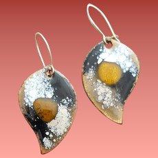 Pierced Earrings Earthy Enamel Tear Drops