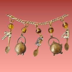 Tea Party Charm Necklace with Tea Pots and Spoons