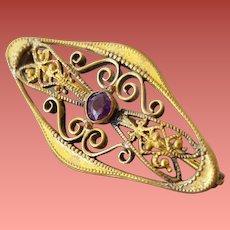 Edwardian Vanity Lace Pin Filigree with Garnet Rhinestone
