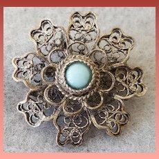 Vintage Lace Pin Brooch or Pendant European Cannetille Souvenir