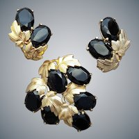 Schiaparelli Demi Parure Brooch and Earrings Black and Gold Drama