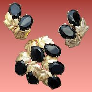 Schiaparelli Demi Parure Brooch with Earrings Black and Gold Drama