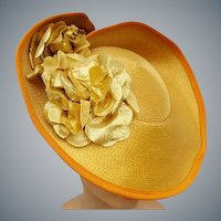 Flamboyant Wide Brim Hat Gold Lame Flowers Fabulous
