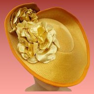 Flamboyant Wide Brim Hat Gold Lame Flowers Fabulous