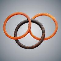 3 Bakelite Bangle Bracelets Tequila Sunrise Faux Wood