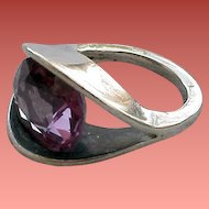 Amethyst and Sterling Silver Ring Size 5-1/4 Mid Century Modern