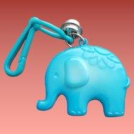Blue Elephant 1980s Plastic Clip Bell Necklace Charm