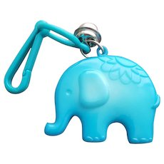 Blue Elephant 1980s Plastic Clip Bell Necklace Charm