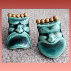 1940s Ceramic Face Earrings Comedy Tragedy Masks