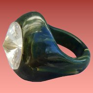 Bakelite Ring Marbled Green Huge Rivoli Rhinestone Size 8