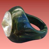 Bakelite Ring Marbled Green Huge Rivoli Rhinestone Size 8