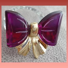 1950s Vintage Brooch Purple Lucite Bow with Gold Tone Metal