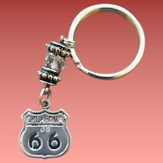 Oklahoma Route 66 Sterling Silver Bracelet Charm Fob