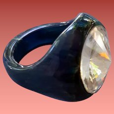 Marbled Blue Moon and Green Bakelite Ring Huge Rivoli Rhinestone Size 6-3/4