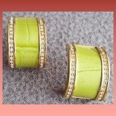 Chartreuse Enamel and Rhinestone Earrings Faux Reptile