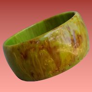 Bakelite Bangle Bracelet End Of Day Green Brown Yellow
