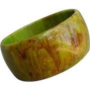 Bakelite Bangle Bracelet End Of Day Green Brown Yellow