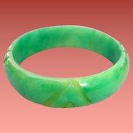 Carved Bakelite Bracelet Celery Green Chunky Monkey