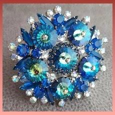Magnificent Juliana Brooch Margarita Stones in Blue