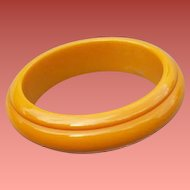 Carved Bakelite Bangle Bracelet Golden Yellow Early Vintage Plastic