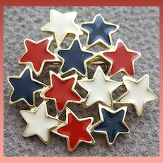 Red White And Blue Enameled Stars Brooch 1976 4th of July