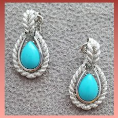 1970s Clip Earrings Faux Turquoise Silver by Avon