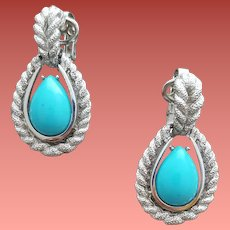 1970s Clip Earrings Faux Turquoise Silver by Avon