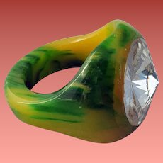 Vintage Bakelite Ring in Green and Honey with Rivoli Rhinestone 7-1/2 - 7-3/4