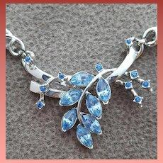 1950s Blue Rhinestone Necklace Iconic Motif