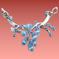 1950s Blue Rhinestone Necklace Iconic Motif