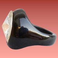 Bakelite Ring Dramatic Black with Huge Rivoli Rhinestone Size 6-1/2 Rare