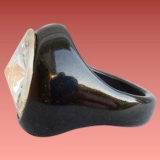 Black Bakelite Ring Huge Rivoli Rhinestone 6-1/2 Rare