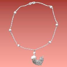 Gorgeous Vintage Monet Necklace 1970s Silver Tone Tassel