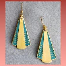 Early Laurel Burch Earrings Enamel Art Deco Style