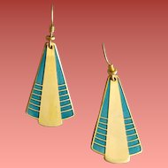 Early Laurel Burch Earrings Enamel Art Deco Style