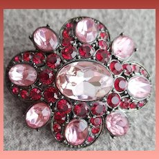 Gorgeous Pink and Red Rhinestone Brooch Liz Claiborne