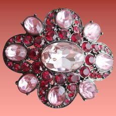 Gorgeous Pink and Red Rhinestone Brooch Liz Claiborne